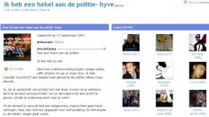 screenshot van de Hyves-pagina 'ik heb een hekel aan de politie-hyve'