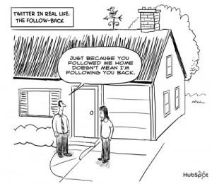 Cartoon over Twitter in het echte leven