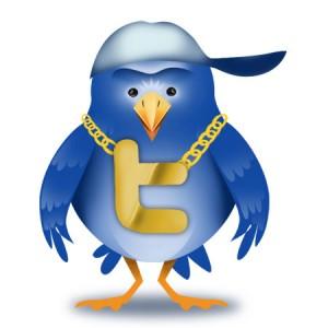 Twitter-vogel met gouden ketting