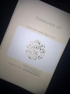 boekje met menu van Restaurant As