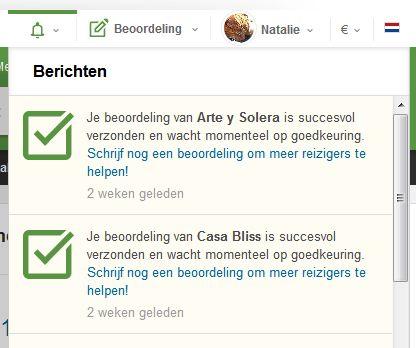 screenshot lijst ingediende beoordelingen Tripadvisor