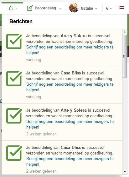 screenshot van lijst ingediende beoordelingen Tripadvisor