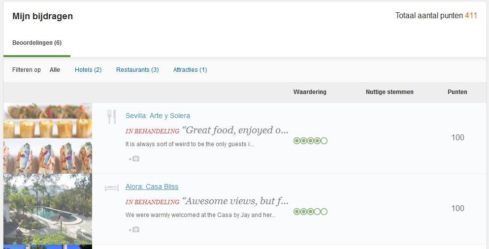 screenshot van beoordelingen Tripadvisor