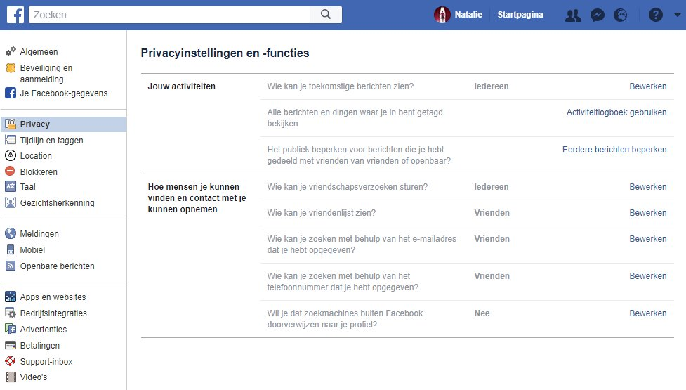 privacyinstellingen facebook